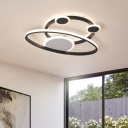 LED Living Room Ceiling Lighting Minimalist Black Flushmount with Orbit Acrylic Shade in Warm/White Light