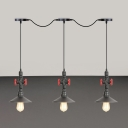 Industrial-Style Saucer Multi Light Chandelier 3/5/7 Heads Iron Tandem Pendant Ceiling Lamp in Black