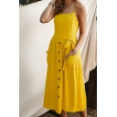 Gorgeous Ladies Solid Color Sleeveless Bow Tie Waist Button Down Pockets Side Long Pleated A-Line Cami Dress
