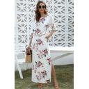 Gorgeous Ladies Half Sleeves Oblique Shoulder All Over Floral Printed Slit Sides Maxi A-Line White Dress