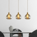 Teardrop Kitchen Hanging Pendant Amber Glass 1 Bulb Mid Century Style Ceiling Light