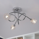 Chrome Entwined Semi Flush Light Modern 3-Light Metal Ceiling Mounted Lamp with Twisted Crystal Shade