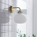 White Glass Oval Wall Light Post-Modern 1 Head Sconce Lighting with Gold Bend Arm