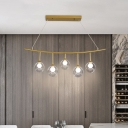 Draping Hanging Island Light Contemporary Clear Glass 5 Heads Dining Table Suspension Pendant in Gold