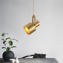 Metal Grenade Adjustable Ceiling Pendant Post-Modern Single Brass Hanging Light Fixture in Brass