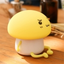 Q-Boy Shape Silica Gel Night Table Light Cartoon White/Yellow/Blue LED Rechargeable Nightstand Lamp