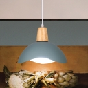 Macaron 1 Head Suspension Light Pink/Yellow/Green Finish Wavy Dome Pendant Lamp with Iron Shade