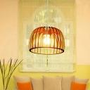 Drum Cage Kitchen Pendant Lighting Wood 1 Head Minimalist Ceiling Suspension Lamp in Beige