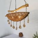 Rattan Boat Suspension Lighting Coastal 2 Bulbs Flaxen Chandelier Light Fixture with Wood Rock Drop