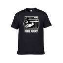 Cool Street Boys Short Sleeve Crew Neck Letter FIRE AWAY Cartoon Graphic Regular Fit T Shirt