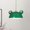Red/Yellow/Blue Frog Shaped Ceiling Light Macaron 1-Head Metallic Suspended Pendant Lamp for Kids Room