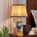 Tapered Pleated Fabric Night Lamp Traditional 1-Light Living Room Table Lighting with Painted Jar Base