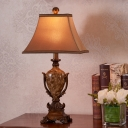 Brown 1 Light Nightstand Lamp Traditional Fabric Pagoda Table Light with Vase Pedestal