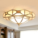 4 Bulbs Ceiling Flush Mount Traditional Inverted Hat Frosted Glass Flushmount Lighting in Brass
