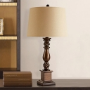 Beige Tapered Drum Table Lamp Transitional Fabric Single Parlor Nightstand Light with Baluster Base