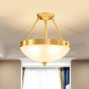 Milk Matte Glass Bowl Ceiling Flush Traditional 4 Bulbs Bedroom Semi Flush Mount Light in Brass