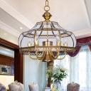 Clear Glass Pear Chandelier Vintage 7-Light Dining Hall Ceiling Pendant Lamp in Brass