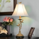 1-Light Nightstand Lamp Fabric Rustic Parlor Table Lighting with Flare Shade and Bird Decor in Khaki