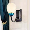 Black and Blue 1/2-Bulb Up Wall Lamp Vintage White Frosted Glass Dome Wall Light Sconce