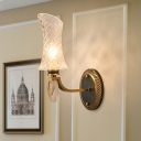 Curvaceous Clear Lattice Glass Wall Lamp Vintage 1/2-Light Living Room Sconce in Brass