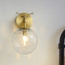 Clear Hammered Glass Ball Sconce Simple 1 Head Corner Wall Mounted Light with Elk Element in Brass