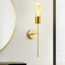Brass Pencil Arm Wall Sconce Minimalist Metal Parlor LED Wall Lamp with Tube Acrylic Shade and Grain Inside