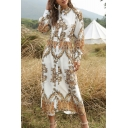 Bohemian Womens Long Sleeve Stand Collar Button Down Allover Floral Print Long A-Line Shirt Dress in White