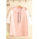 Preppy Girls Raglan Short Sleeve Hooded Drawstring Letter NEVER STOP Print Color Block Loose T-Shirt