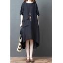 Vintage Ladies Black Short Sleeve Round Neck Flap Pocket Linen High Low Hem Long Oversize Dress