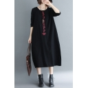 Womens Vintage Long Sleeve Round Neck Flower Printed Linen and Cotton Long Oversize Dress