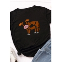 Popular Girls Roll Up Sleeve Round Neck Cow Printed Slim Fit T-Shirt