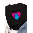 Leisure Chic Girls Rolled Short Sleeve Round Neck Letter BE NICE Cat Heart Printed Contrasted Fitted Graphic Tee Top
