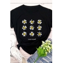 Fancy Girls Roll Up Sleeve Crew Neck Letter LOVE MYSELF Daisy Graphic Slim Fit T Shirt