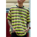 Trendy Popular Boys Short Sleeve Crew Neck Label Patched Stripe Printed Loose Tee Top