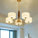 Traditional Drum Suspension Light 3/5-Head White Fabric Chandelier Lamp Fixture in Brass