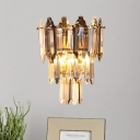 3-Tier Crystal Block Wall Light Traditional 2-Light Indoor Wall Lamp Sconce in Gold
