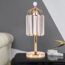 LED Table Lighting Modern Cylinder Prismatic Optical Crystal Night Lamp in Gold for Bedside