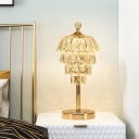 LED 4-Tier Table Light Contemporary Gold Crystal Block Nightstand Lamp for Bedside
