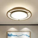 Metal Round Flush Mounted Light Modernism LED Flush Ceiling Lamp Fixture in Brown