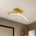 Acrylic Dual Arc Semi Flush Light Minimalist LED Flush Ceiling Lamp in Gold, Warm/White Light