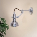 Bell Indoor Wall Sconce Lighting Industrial Metallic 1-Head Chrome Rotatable Wall Lamp