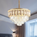 Gold 4 Tiers Chandelier Light Traditional Clear Crystal Block LED Dining Room Suspension Lamp