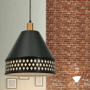1 Light Down Lighting Vintage Bedside Ceiling Hang Fixture with Laser-Cut Cone Iron Shade in Black