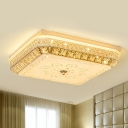 Inserted Crystal Square Flush Mount Contemporary LED Bedroom Flush Ceiling Light in Gold