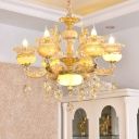 Modern Flower Chandelier Light 6 Heads Frosted Glass Hanging Lamp in Gold with Crystal Drop