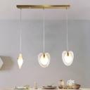 Clear Glass Heart Shape Pendulum Light Modern 3-Light Brass Ceiling Hang Fixture with Linear Canopy