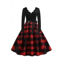 Tartan Printed Patchwork Bow Tie Waist Long Sleeve Scalloped V-Neck Mid Pleated Flared Vintage Dress for Ladies