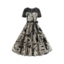 Chic Girls See-Through Lace Patched Short Sleeve Round Neck Newspaper Pattern Bow Tie Waist Mid Pleated Swing Dress
