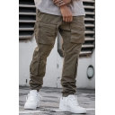 Popular Mens Green Flap Pockets Utility Cuffed Ankle Relaxed Cargo Pants