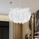1-Head Bedroom Ceiling Pendant Light Modernist White Suspension Lamp Fixture with Feather Ball Fabric Shade